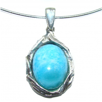 One of the kind Nature inspired Larimar .925 Sterling Silver handmade necklace