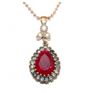 CHic Boho Style created Ruby .925 Sterling Silver handmade necklace