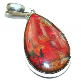 One of the kind genuine Ammolite .925 Sterling Silver Pendant