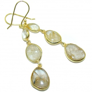 Perfect Golden Rutilated Quartz 14K Gold over .925 Sterling Silver handmade earrings