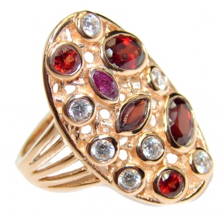 Garnet Topaz 14K Gold over .925 Sterling Silver handmade Cocktail Ring s. 7