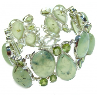 Huge Incredible Genuine Moss Prehnite .925 Sterling Silver handcrafted Bracelet