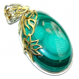 HUGE Top Quality Malachite 14K Gold over .925 Sterling Silver handmade Pendant