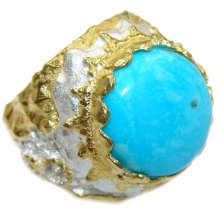 Genuine Sleeping Beauty Turquoise 18 ct Gold over .925 Sterling Silver Ring size 7 1/4