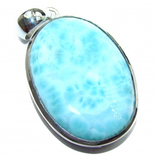 Romantic Genuine Blue Larimar Sterling Silver handcrafted Pendant