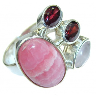 Perfect Rhodochrosite .925 Sterling Silver handmade Ring s. 7 adjustable