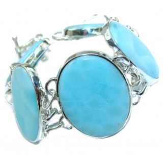 Huge Modern Design authentic Larimar .925 Sterling Silver handcrafted Bracelet