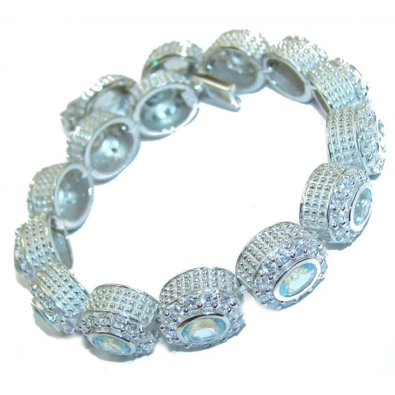 Authentic Swiss Blue Topaz White Topaz .925 Sterling Silver handmade Bracelet