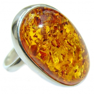 Authentic Baltic Amber .925 Sterling Silver handcrafted ring; s 9