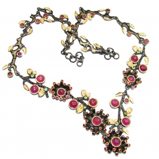 FLORAL design Boho Style Genuine Ruby 14K Gold over .925 Sterling Silver handmade necklace