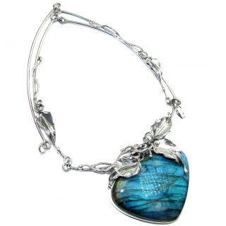 Mesmerizing lights FIRE Labradorite glossy finish .925 Sterling Silver entirely handcrafted necklace