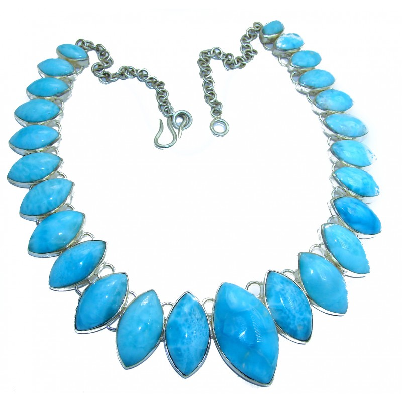 162.6 grams One of the kind Best quality AAAAA Larimar .925 Sterling Silver handmade necklace