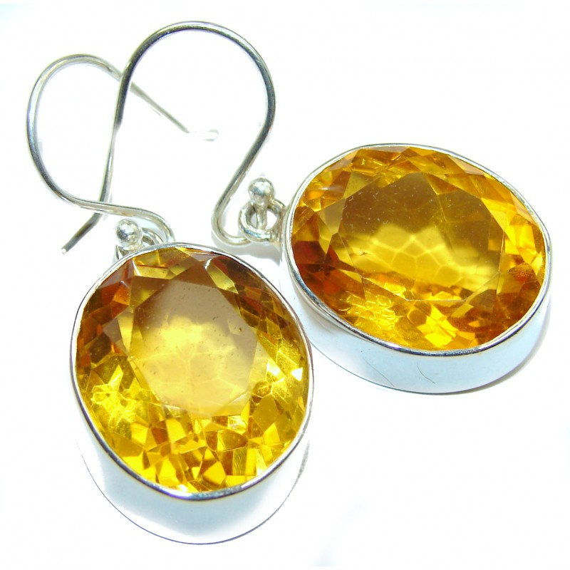 Perfect Sunny Quartz .925 Sterling Silver handmade earrings