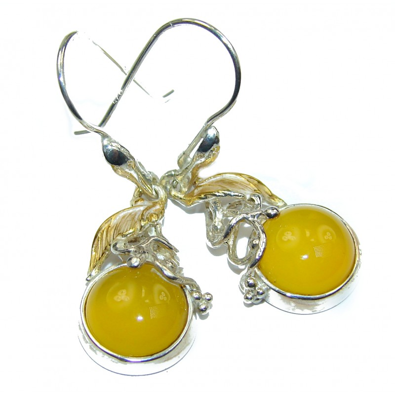 Genuine Baltic Amber two tones .925 Sterling Silver handcrafted Earrings