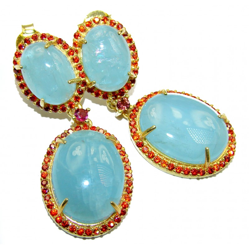 Fancy Style genuine Aquamarine Ruby .925 Sterling Silver handmade earrings
