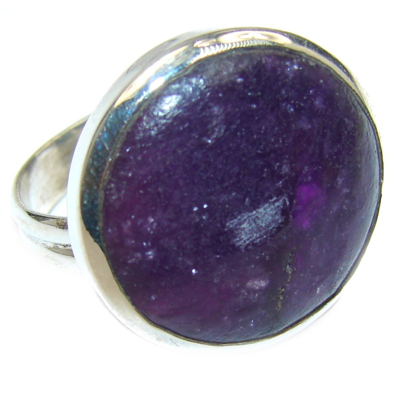Huge Purple Turquoise .925 Sterling Silver handcrafted ring; s. 8 1/2
