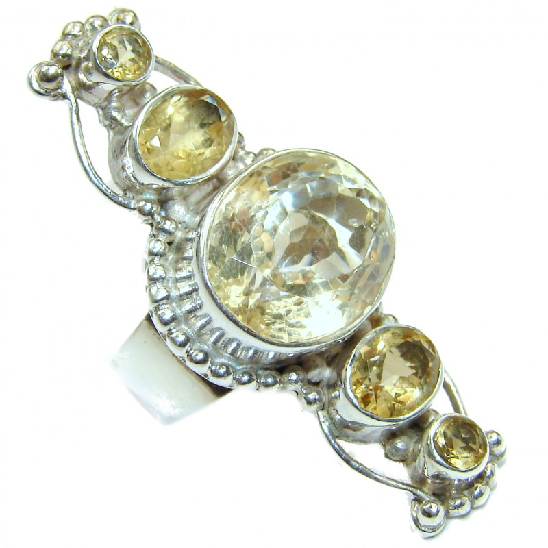 Vintage Style Natural Citrine .925 Sterling Silver handcrafted Ring s. 5 1/4