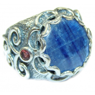 Huge Natural 26ct Kyanite .925 Sterling Silver ITALY MADE ring size 6 1/2