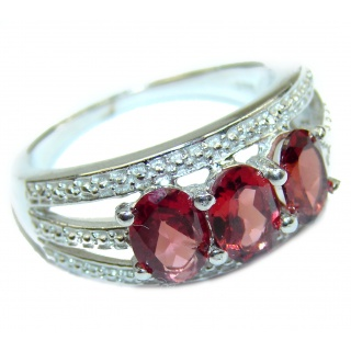 Genuine Garnet .925 Sterling Silver handmade Cocktail Ring s. 8 1/4