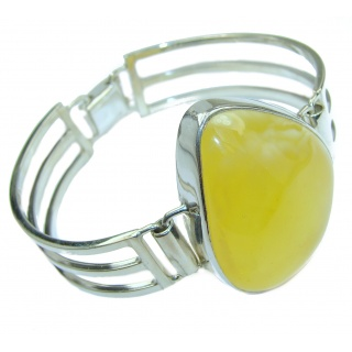 Huge genuine Butterscotch Baltic Amber Sterling Silver handmade Bracelet / Cuff