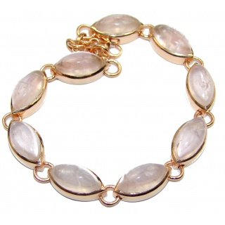 Natural Rose Quartz 14K Gold over .925 Sterling Silver handmade Bracelet