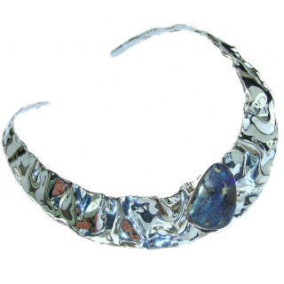 Bohemian Style Australian Boulder Opal Hammered Sterling Silver necklace / Choker