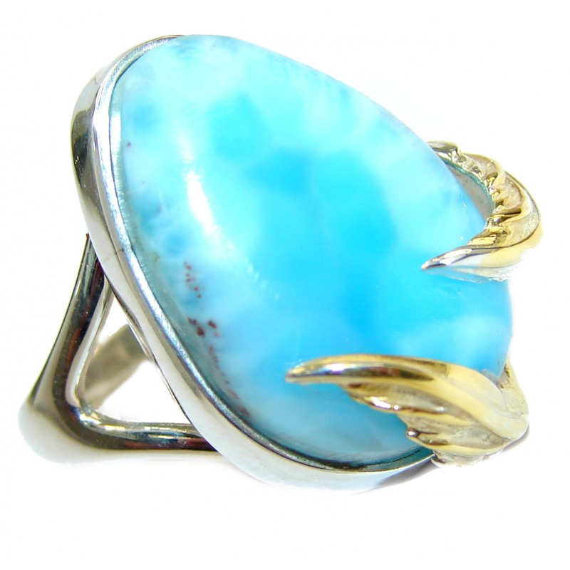 Vintage Design Natural Larimar two Tones .925 Sterling Silver handcrafted Ring s. 7