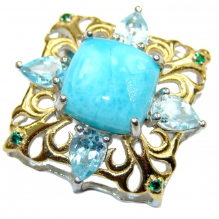 Natural Larimar Swiss Blue Topaz 14K Gold over .925 Sterling Silver handmade Pendant