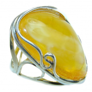 HUGE authentic Baltic Amber .925 Sterling Silver handcrafted ring; s. 7 adjustable
