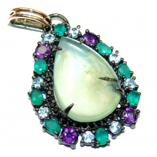 Authentic Moss Prehnite Rhodium over .925 Sterling Silver handmade pendant