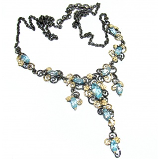 Andromeda Swiss Blue Topaz 14K Gold Rhodium over .925 Sterling Silver handcrafted necklace