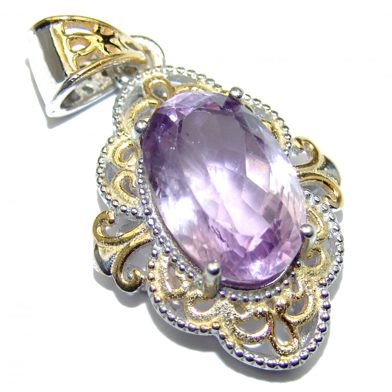 Royal Treaure Genuine 15ct Pink Amethyst 14K Gold .925 Sterling Silver handmade Pendant