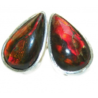 Red Aura Fire Ammolite .925 Sterling Silver handcrafted earrings