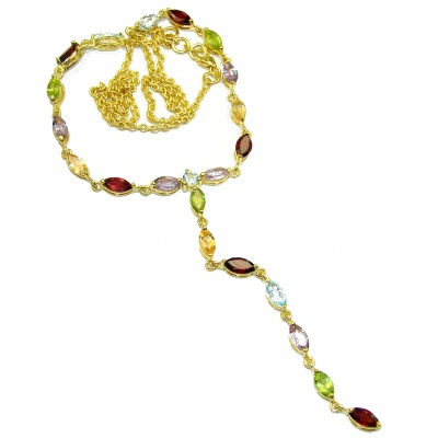 Color Fusion MultiGEM Gold over .925 Sterling Silver handcrafted necklace