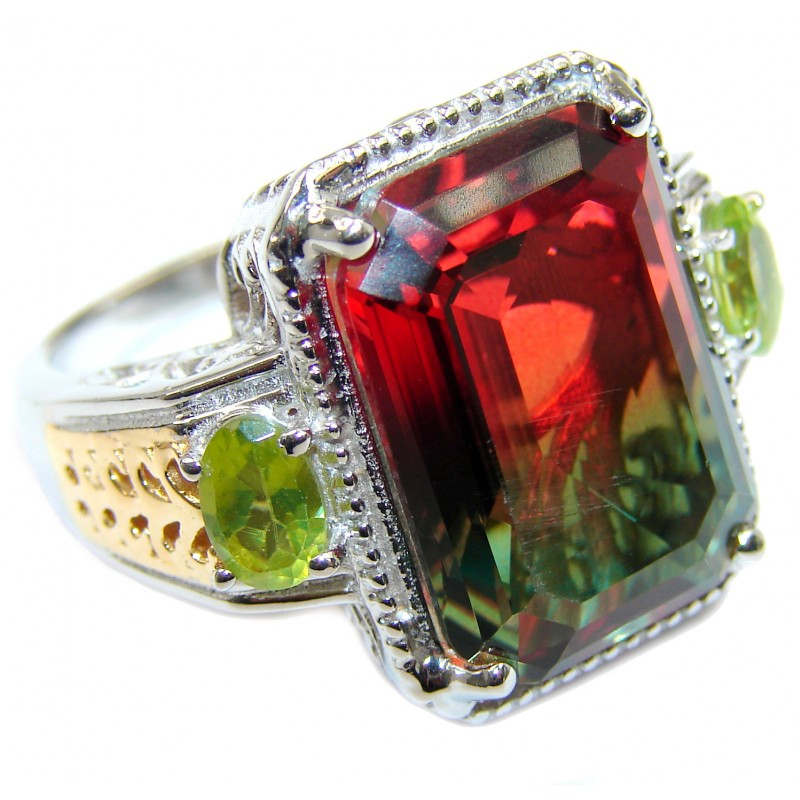 HUGE Top Quality Magic Volcanic Pink Tourmaline Topaz .925 Sterling Silver handcrafted Ring s. 8 1/4