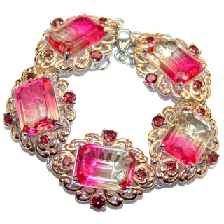 Luxury Tourmaline color Topaz 14K Gold over .925 Sterling Silver handmade Bracelet