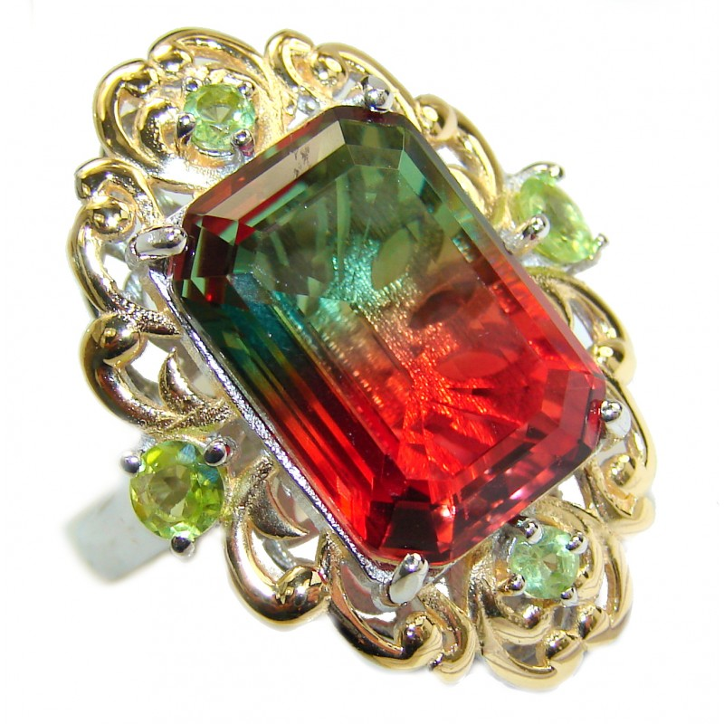 HUGE Top Quality Volcanic Pink Tourmaline color Topaz .925 Sterling Silver handcrafted Ring s. 7 1/2