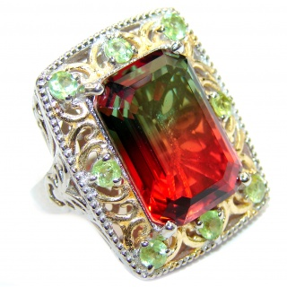 Top Quality Volcanic Pink Tourmaline color Topaz .925 Sterling Silver handcrafted Ring s. 7