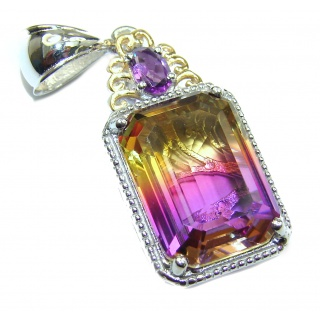 Deluxe Octagon cut Ametrine 14K Gold over .925 Sterling Silver handmade Pendant