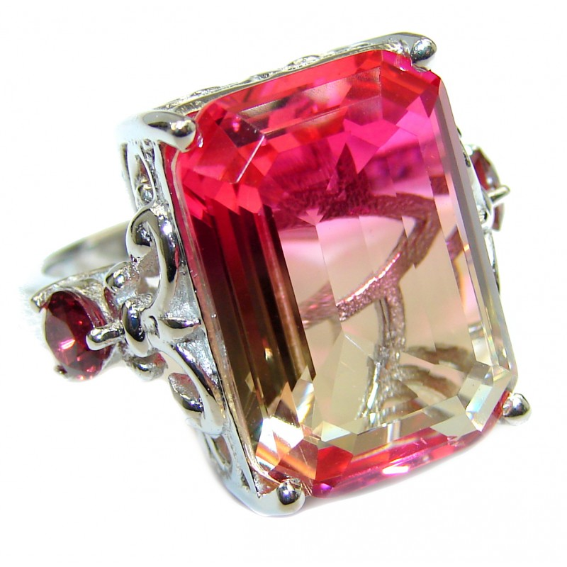 Top Quality Magic Volcanic Pink Tourmaline Topaz .925 Sterling Silver handcrafted Ring s. 6 1/2