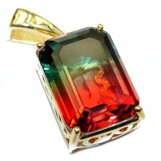 Deluxe Octagon cut Tourmaline color Topaz 14K Gold over .925 Sterling Silver handmade Pendant