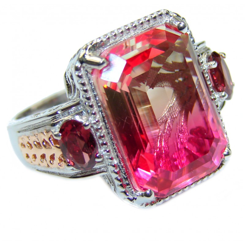 HUGE Top Quality Magic Volcanic Pink Tourmaline Topaz .925 Sterling Silver handcrafted Ring s. 9