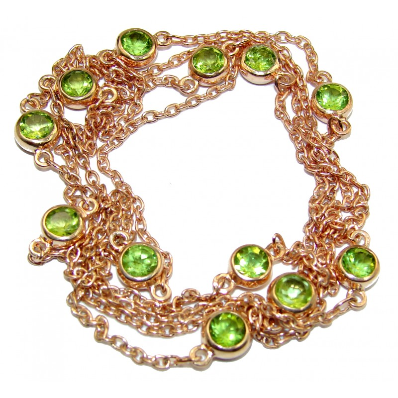 36 inches genuine Peridot Gold over .925 Sterling Silver handmade Necklace
