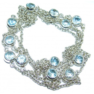 36 inches Swiss Blue Topaz .925 Sterling Silver Station necklace