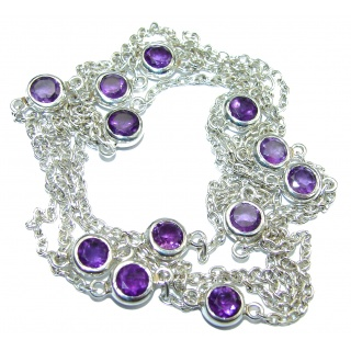 36 inches Genuine Amethyst .925 Sterling Silver station Necklace