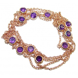 36 inches Genuine Amethyst Rose Gold over .925 Sterling Silver station Necklace