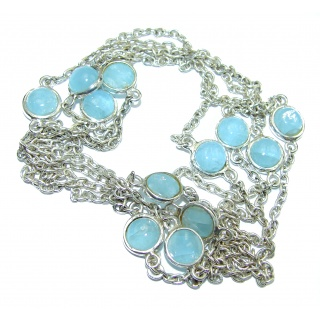 36 inches genuine Aquamarine .925 Sterling Silver handmade station Necklace
