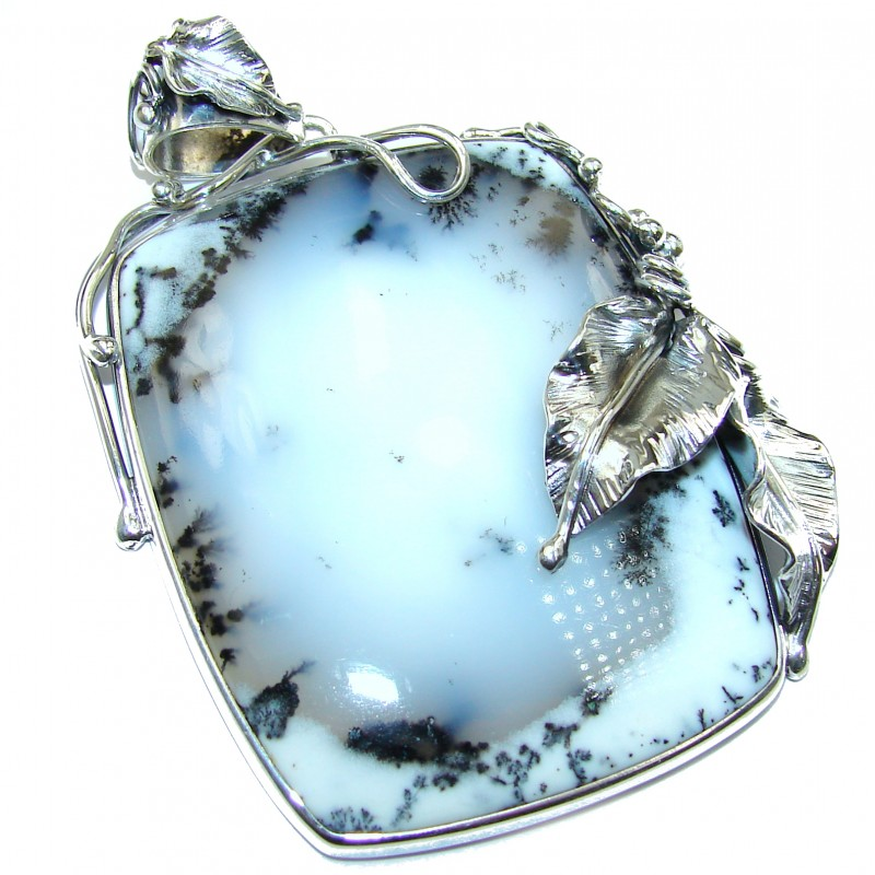 40 grams! Perfect quality Dendritic Agate .925 Sterling Silver handmade Pendant
