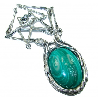 Very Unusual authentic Malachite .925 Sterling Silver handmade necklace