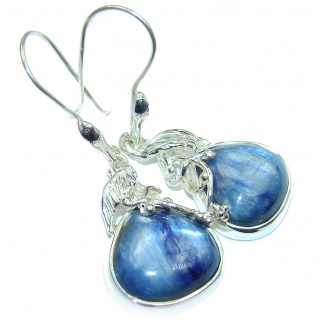 Floral Design Kyanite .925 Sterling Silver handcrafted earrings